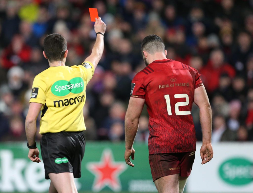 Munster's Sammy Arnold receives a red card from Referee Sean Gallagher