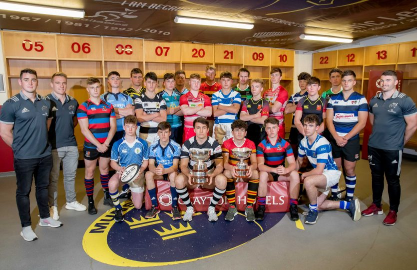 Munster Senior & Junior Schools Cup captains with Munster's Ronan O'Mahony, Rory Scannell and Sammy Arnold