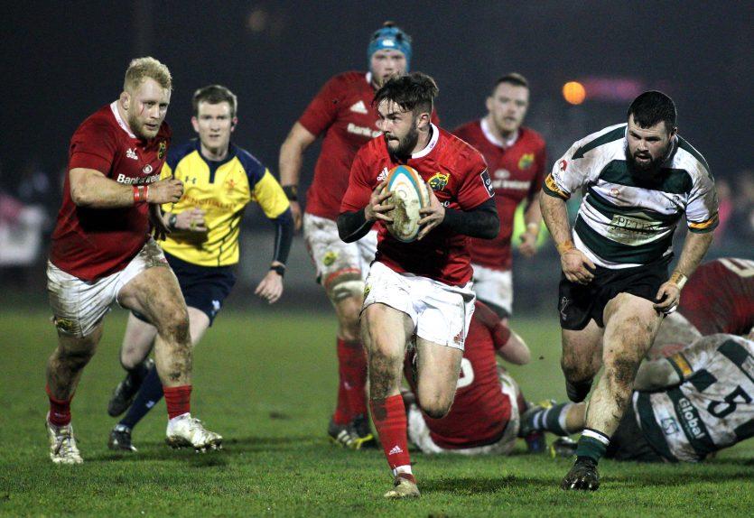 Munster A's Bill Johnston on the attack against Nottingham