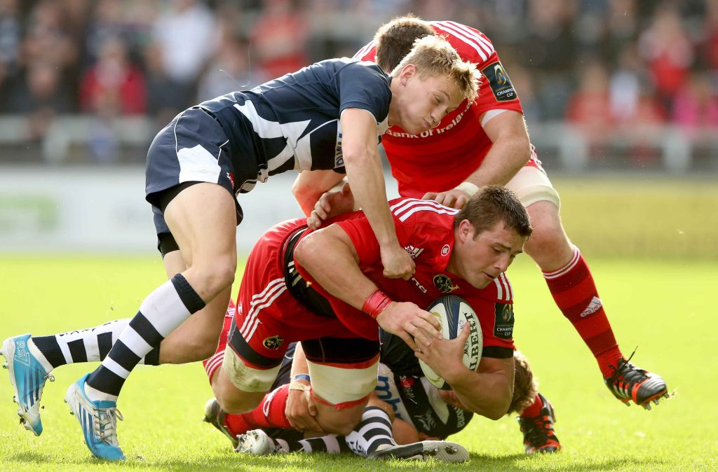 Mike Haley of Sale Sharks in action against Munster in October '14 at the AJ Bell Stadium.