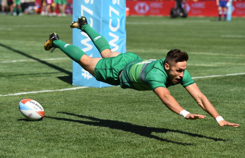 Rugby World Cup Sevens San Francisco 2018 Final Day AT&T Park San Francisco 22/7/2018 Challenge Cup Final Ireland vs Australia Ireland's Greg O'Shea scores a try Mandatory Credit ©INPHO/Photosport/Andrew Cornaga