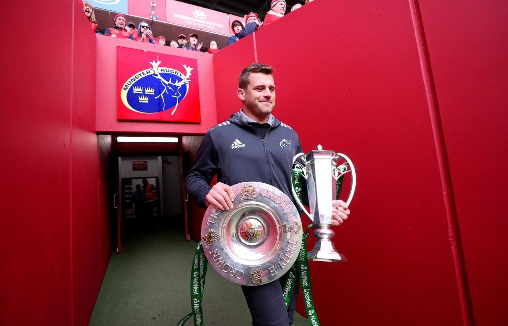 CJ Stander with the 6 Nations trophies prior to Munster v Ulster in April.
