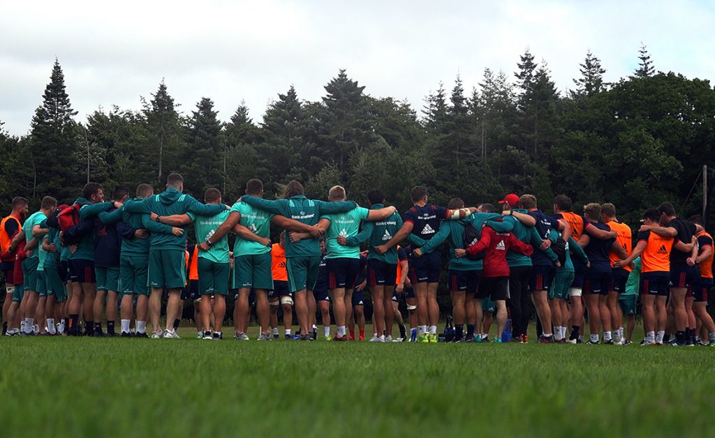 The Munster squad at the pre-season training camp in Fota Island Resort.