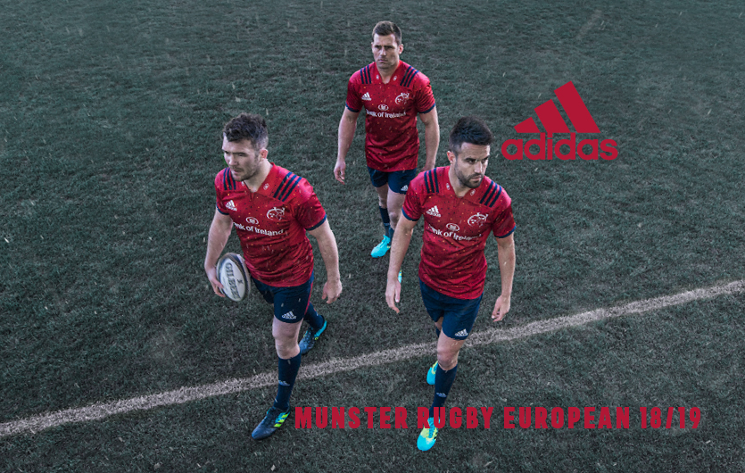Peter O'Mahony, CJ Stander and Conor Murray in Munster's new European kit.