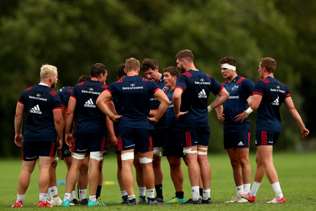 The Munster squad at training in UL.