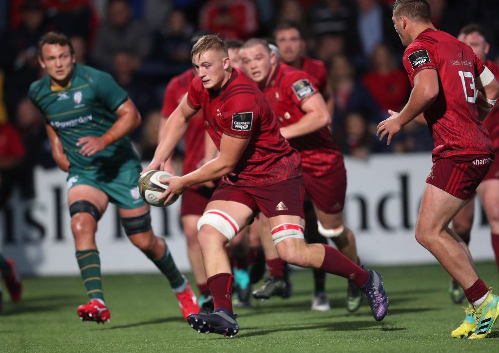 Gavin Coombes in action for Munster against London Irish.