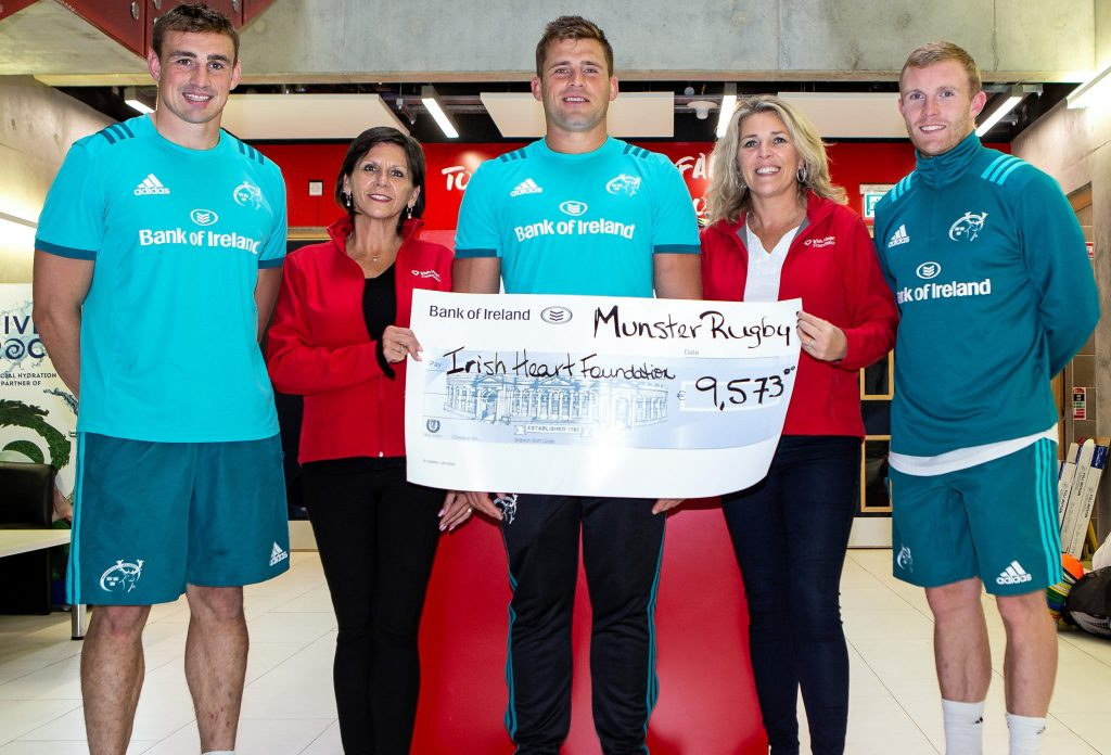 Tommy O'Donnell, CJ Stander and Keith Earls with Nancy Ward and Anne Riordan of the Irish Heart Foundation.