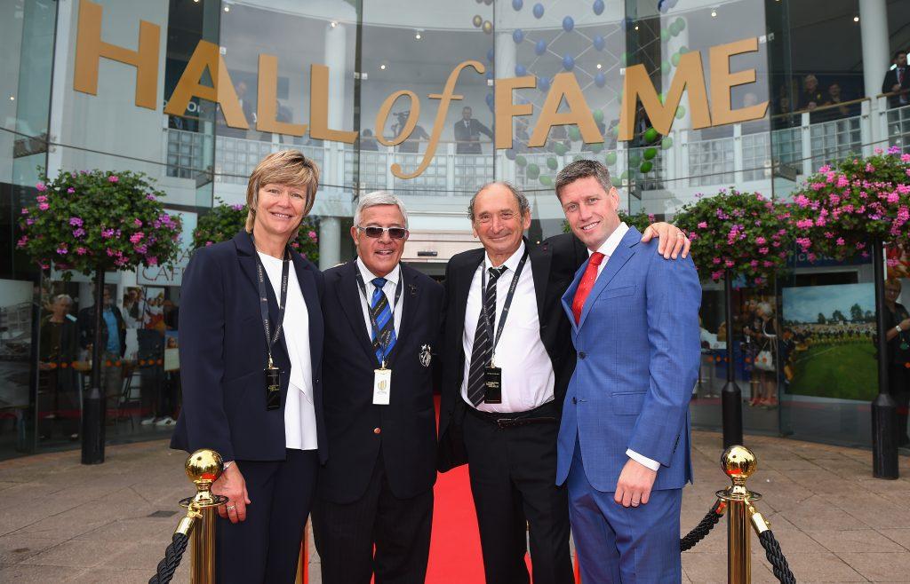 Hall of Fame inductees Liza Burgess, Bryan Williams, Pierre Villepreux and Ronan O'Gara.