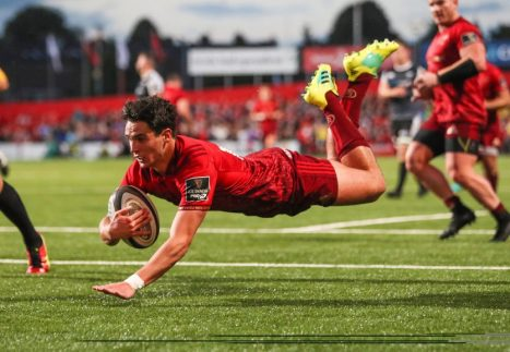 Joey Carbery scores his first Munster try.