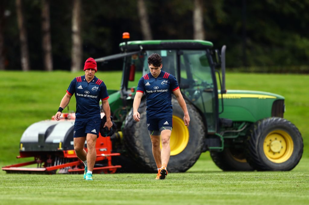 Ian Keatley and Alex Wootton make their way to training.