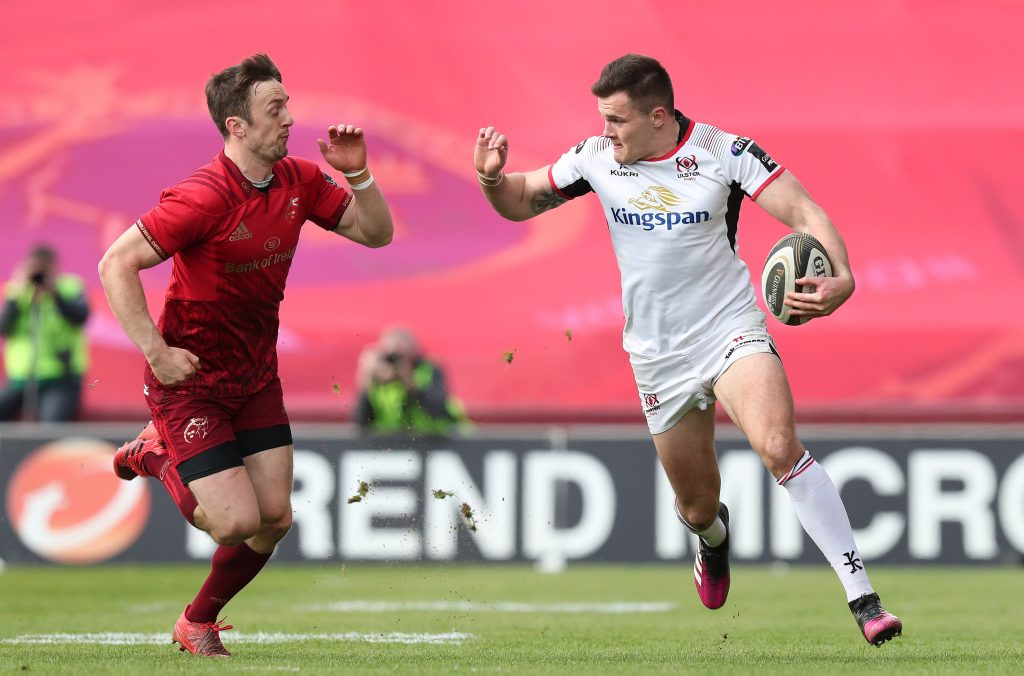 Darren Sweetnam and Jacob Stockdale in action last season.