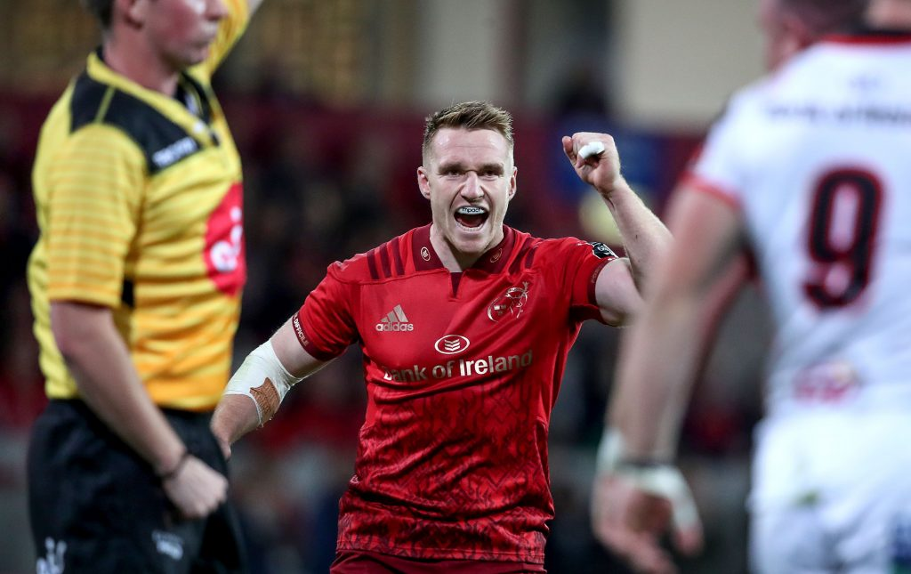 Rory Scannell celebrates during the record PRO14 win over Ulster.