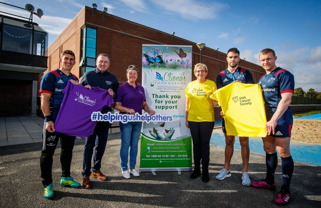Ian Keatley, Conor Murray and Keith Earls joined Cliona's Foundations Co-Founders Brendan and Terry Ring and the Irish Cancer Society's Night Nurse Eily Mullane to launch the partnership at Munster's training base at the University of Limerick.