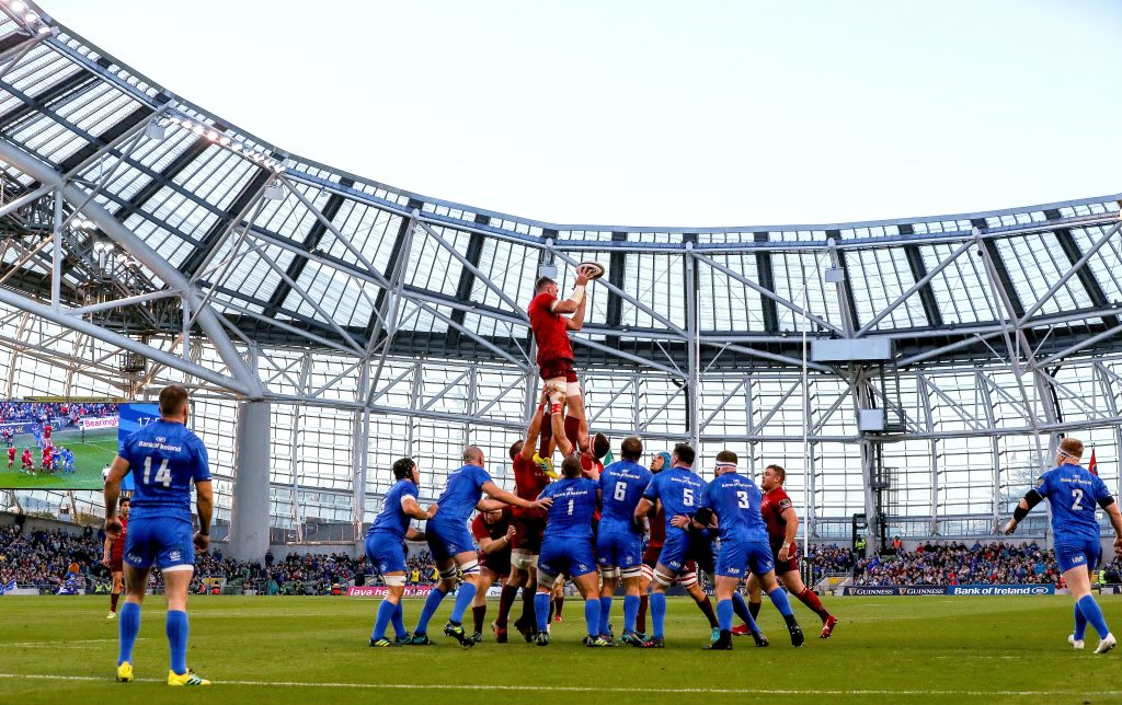 Peter O'Mahony wins a lineout ball against Leinster.