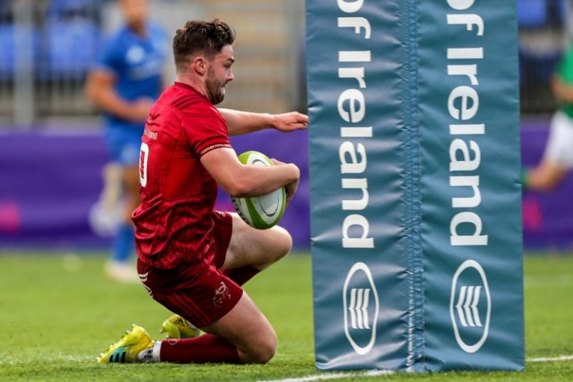 Munster A captain Bill Johnston scoring a try against Leinster A.