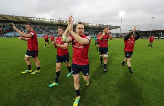 The players applaud the fantastic Munster support