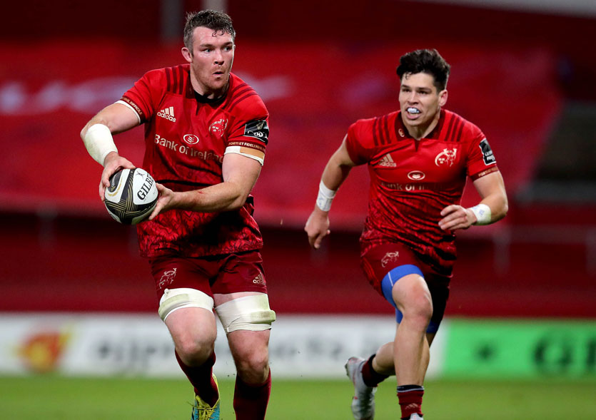Peter O'Mahony and Alex Wootton in action against Ulster at Thomond Park.
