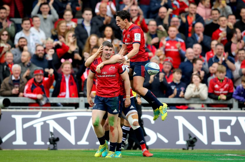 Sammy Arnold celebrates scoring with Joey Carbery.