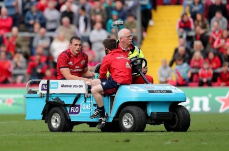 Tommy O'Donnell leaving the field on Saturday with an ankle injury.