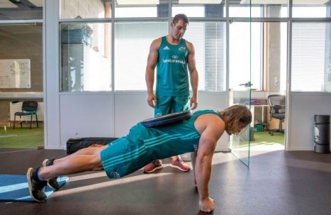 CJ Stander and Arno Botha in the gym at the High Performance Centre.