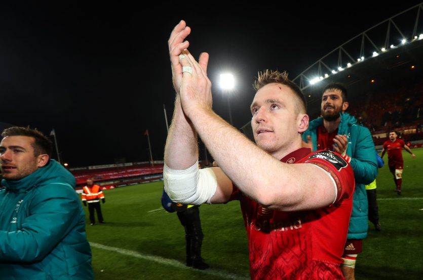 Rory Scannell celebrates after the game.