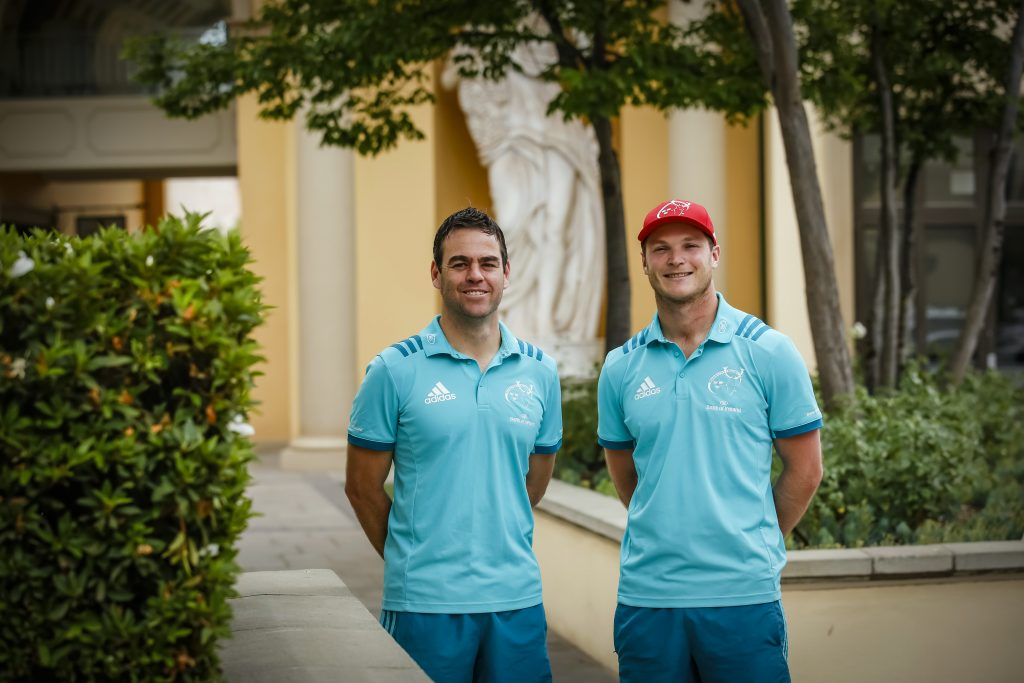 Head Coach Johann van Graan and Tyler Bleyendaal at the Southern Sun Montecasino Hotel, Johannesburg