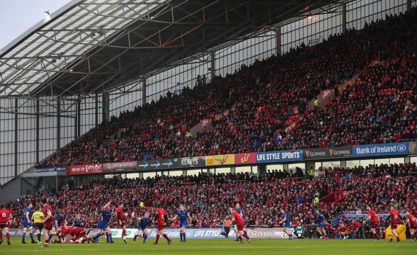 A view of a sold out Thomond Park during last year's Munster v Leinster Christmas clash.
