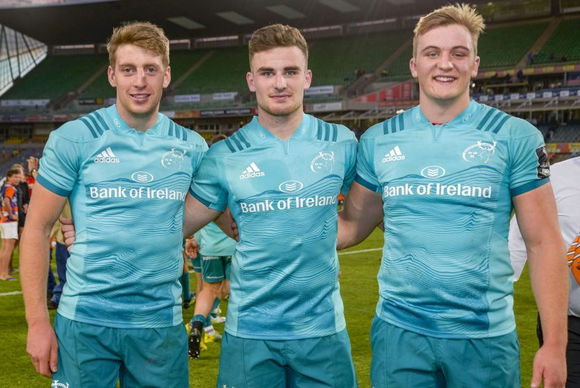Academy players Liam Coombes, Shane Daly and Gavin Coombes after the Cheetahs game with Sean O'Connor also playing his part in the win.