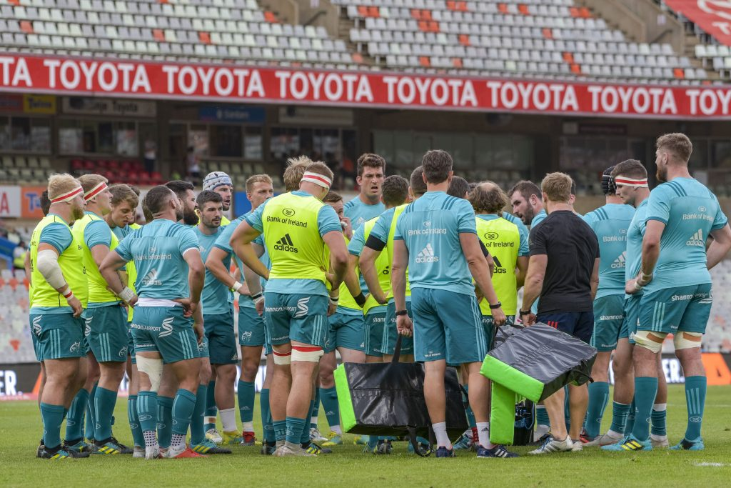 The Munster team huddle before the Cheetahs clash.
