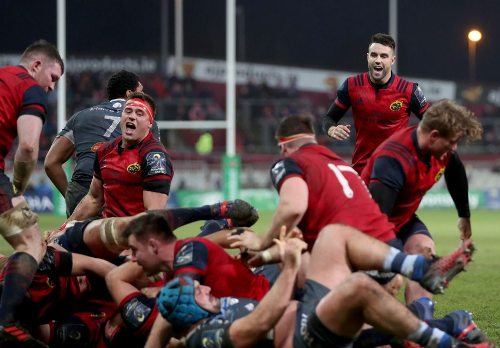CJ Stander and Conor Murray celebrate a penalty try in last season's clash against Castres.
