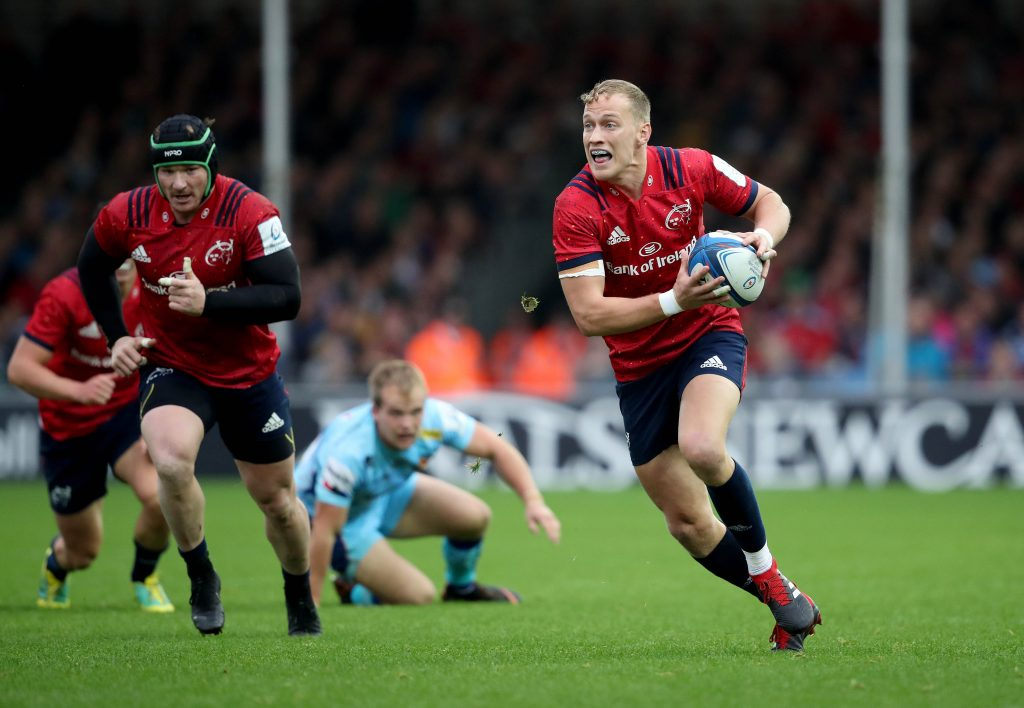 Mike Haley and Chris Cloete in action against Exeter Chiefs.