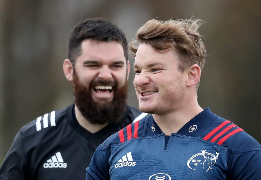 Kevin O'Byrne and Chris Cloete share a joke at training.