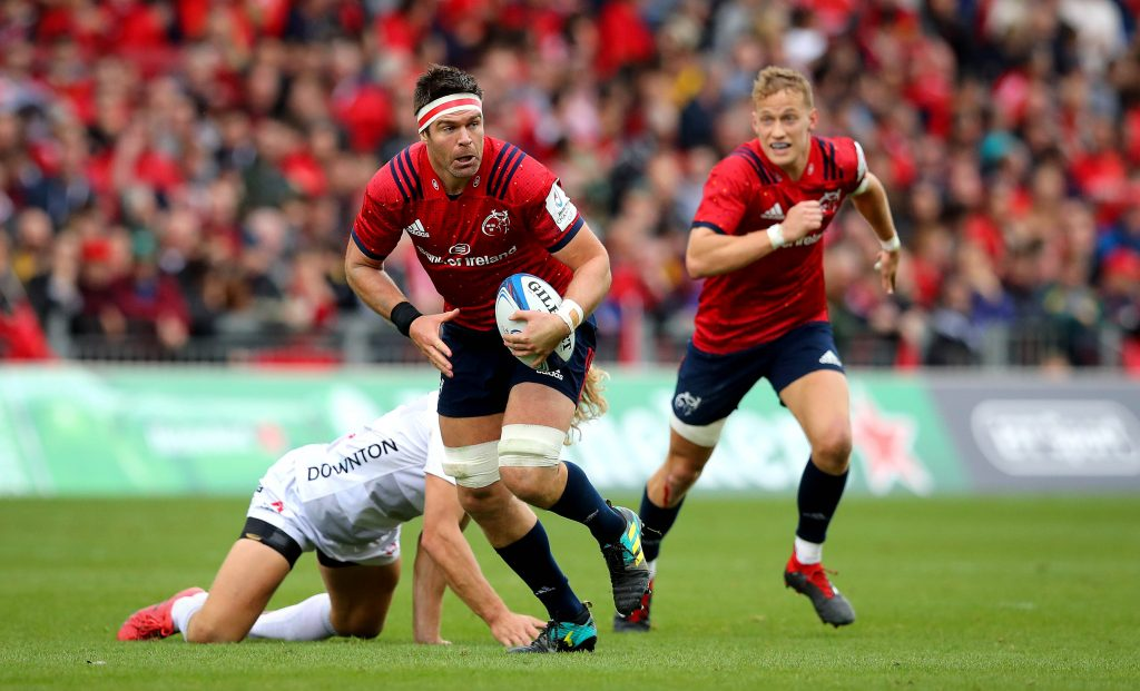 Billy Holland and Mike Haley in Champions Cup action against Gloucester.