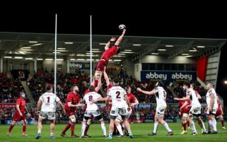 Billy Holland reaches for a lineout at the Kingspan Stadium last season.