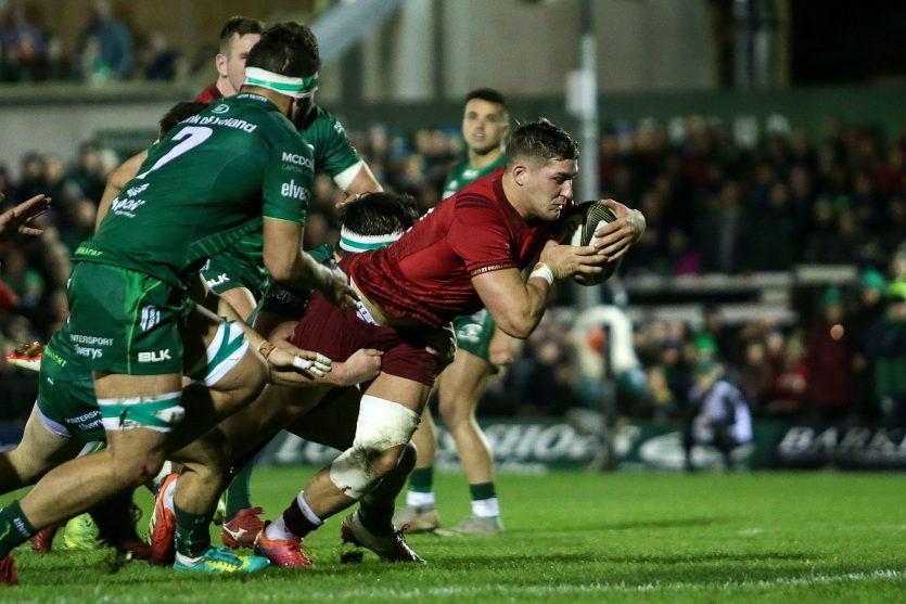 Dan Goggin scoring Munster's second try.