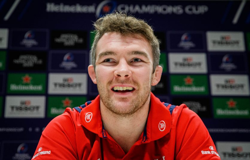 Peter O'Mahony speaking to the media on Monday.