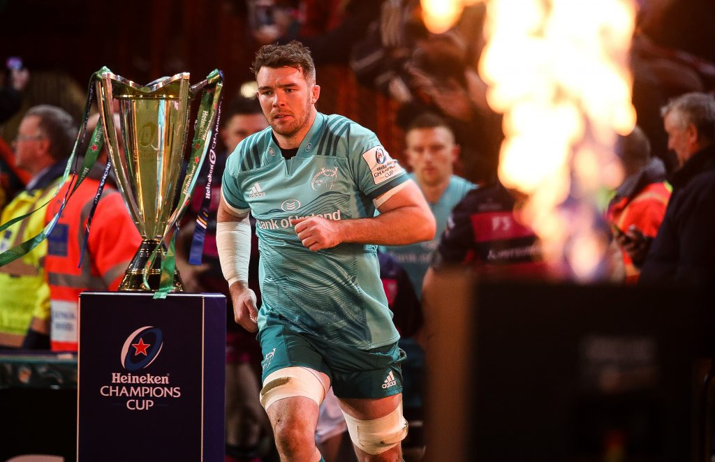 Peter O'Mahony leads Munster out at Kingsholm.