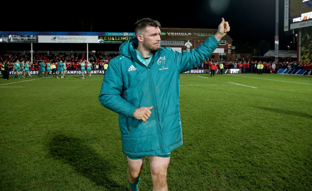 Peter O'Mahony salutes the Munster supporters at Kingsholm on Friday night.