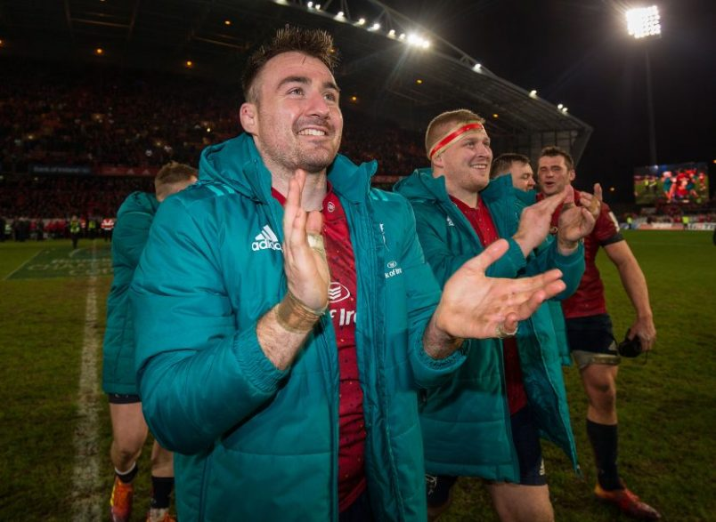 Niall Scannell thanks the supporters after the game