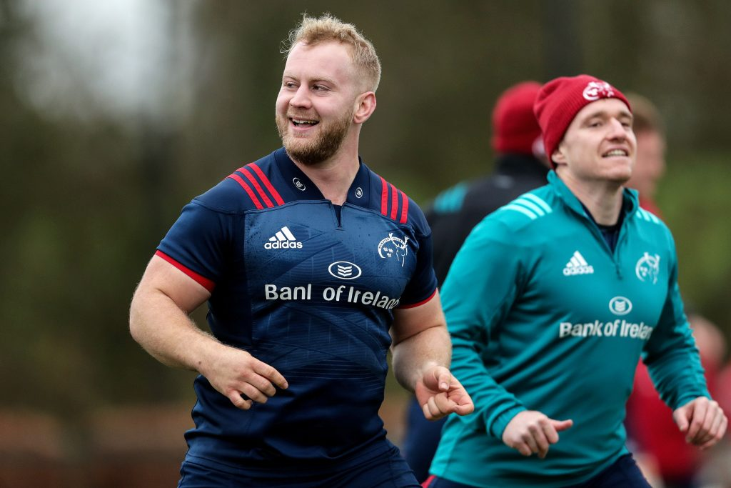 Jeremy Loughman and Rory Scannell at Monday's training session.