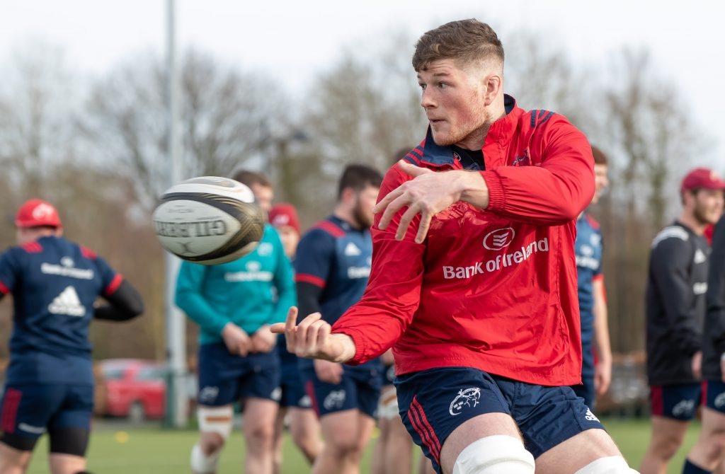 Jack O'Donoghue training with the Munster squad today.