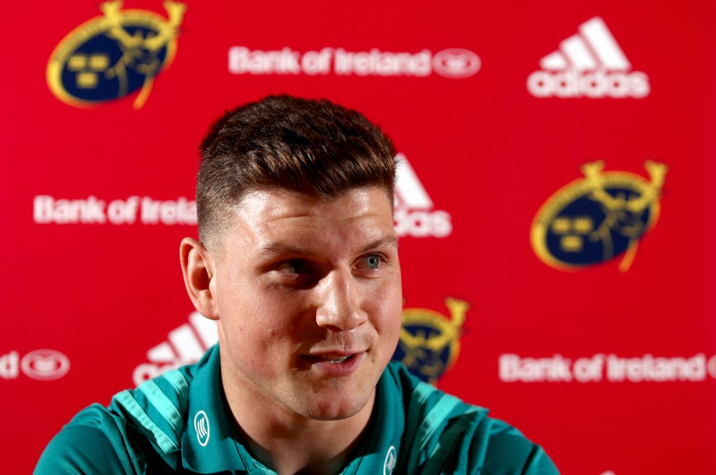 Fineen Wycherley speaking to the media at Munster Rugby's High Performance Centre.