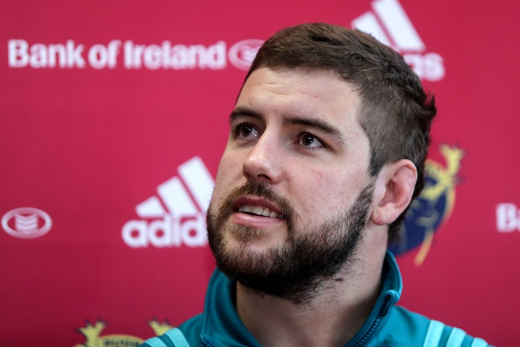 Rhys Marshall speaking to the media ahead of Munster v Zebre.