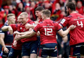 Keith Earls celebrates scoring his first try with Andrew Conway, Jack O