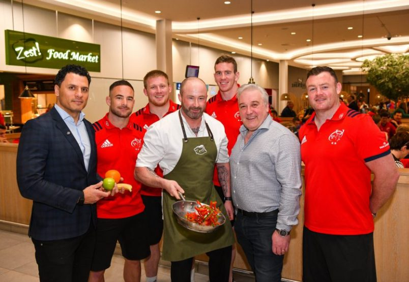 Doug Howlett, Head of Commercial and Marketing, Munster Rugby, Alby Mathewson, John Ryan, Chris Farrell, and Dave Kilcoyne, along with Executive Chef Danny Miller and Zest! Managing Director Ean Malone.