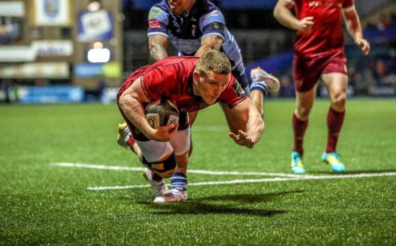 Andrew Conway scores a try against Cardiff Blues in September.