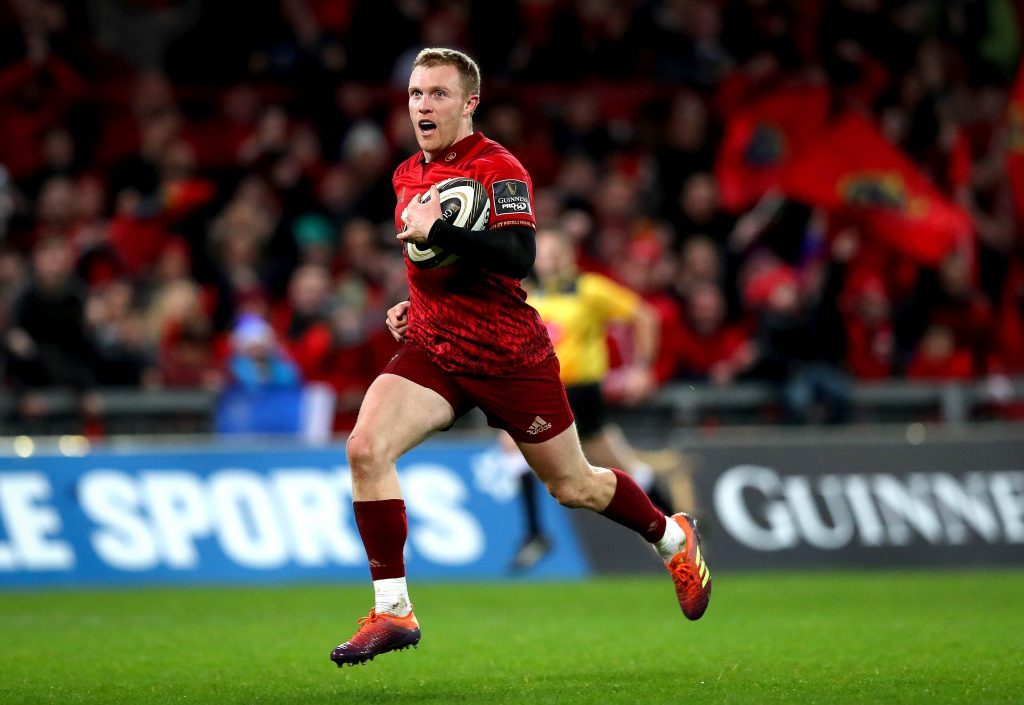 Keith Earls was withdrawn from the squad before kick-off as a precaution with left thigh tightness.