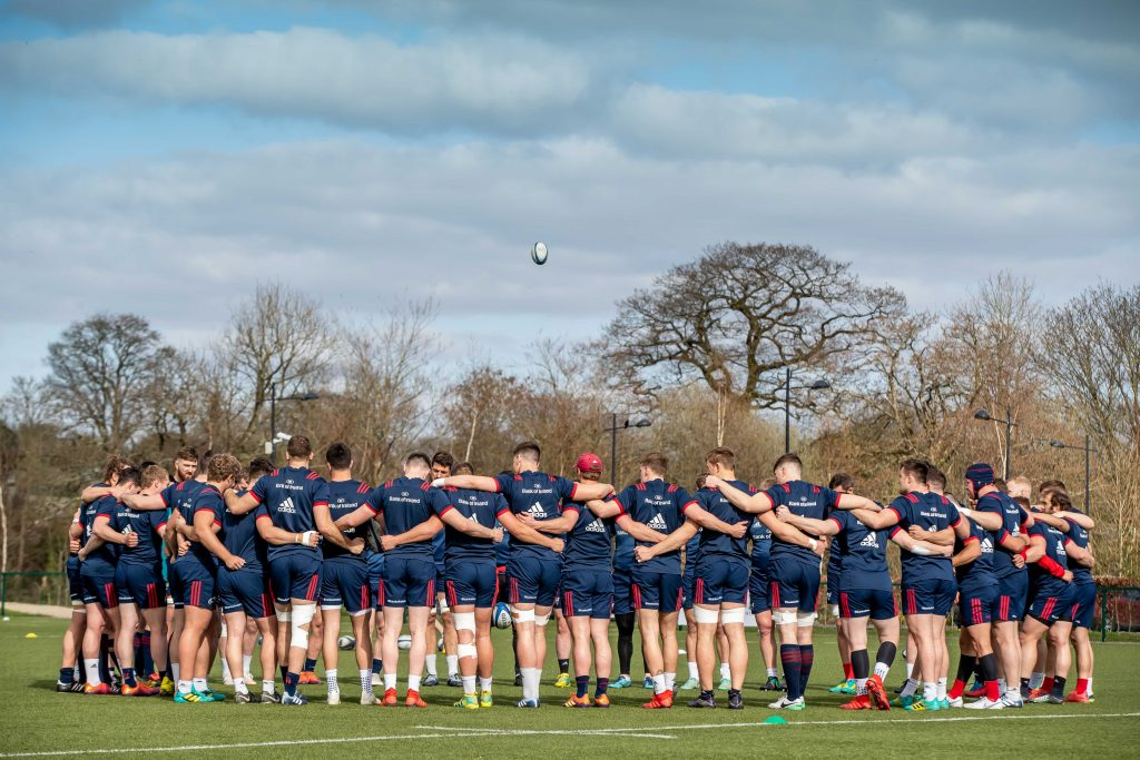 The Munster squad train at the High Performance Centre in Limerick today.