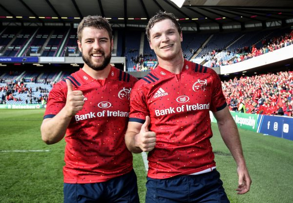 Rhys Marshall and Tyler Bleyendaal following the Champions Cup quarter-final win in Murrayfield.