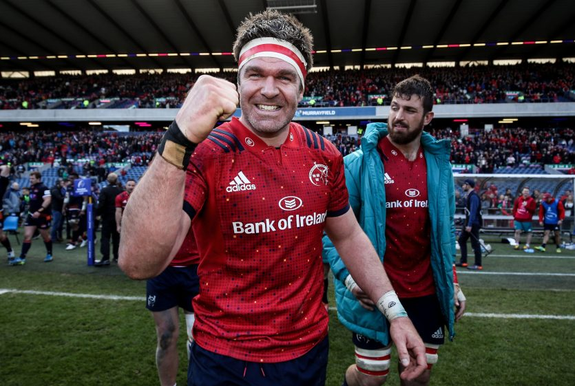 Billy Holland celebrates winning the Champions Cup quarter-final at Murrayfield.